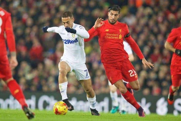 LIVERPOOL, ENGLAND - Tuesday, November 29, 2016: Liverpool's Emre Can in action against Leeds United's Kemar Roofe during the Football League Cup Quarter-Final match at Anfield. (Pic by David Rawcliffe/Propaganda)