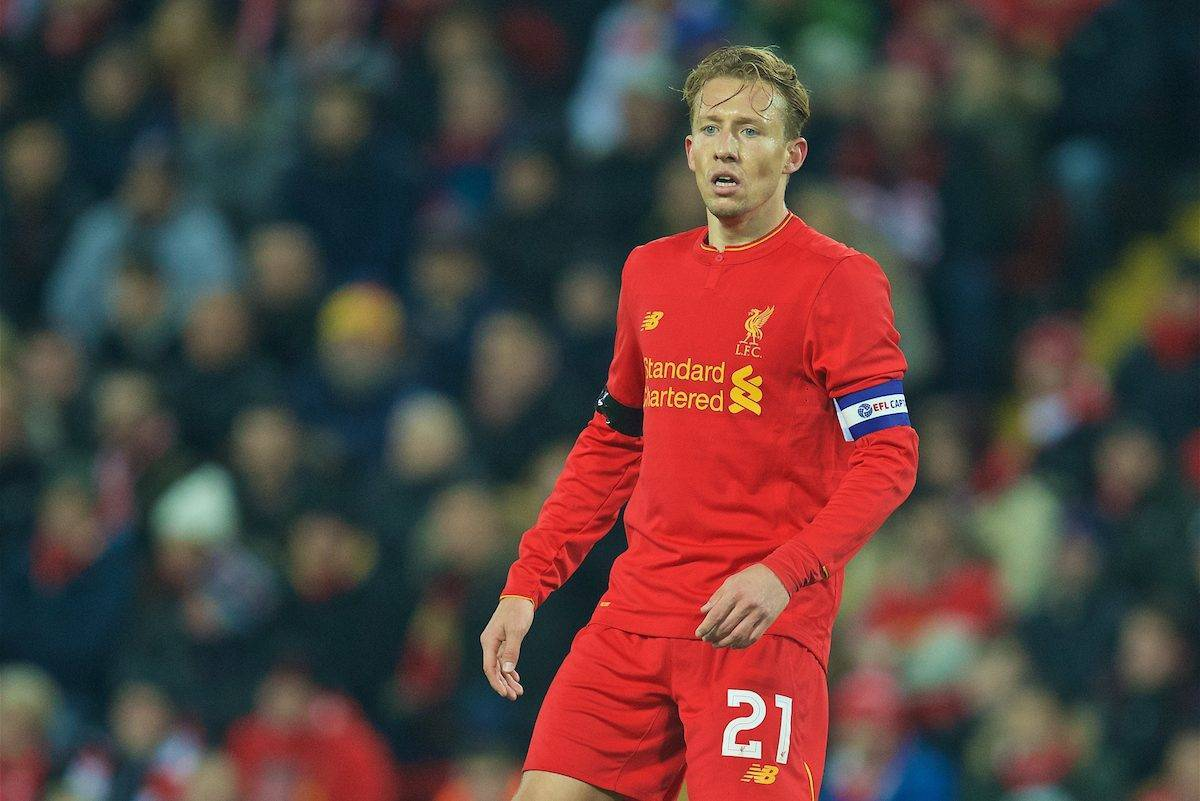 LIVERPOOL, ENGLAND - Tuesday, November 29, 2016: Liverpool's captain Lucas Leiva in action against Leeds United during the Football League Cup Quarter-Final match at Anfield. (Pic by David Rawcliffe/Propaganda)