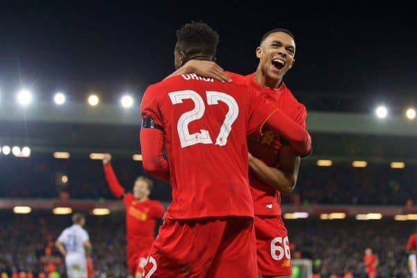 LIVERPOOL, ENGLAND - Tuesday, November 29, 2016: Liverpool's Divock Origi celebrates scoring the first goal against Leeds United with team-mate Trent Alexander-Arnold during the Football League Cup Quarter-Final match at Anfield. (Pic by David Rawcliffe/Propaganda)