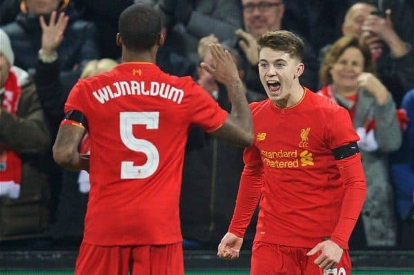 LIVERPOOL, ENGLAND - Tuesday, November 29, 2016: Liverpool's Ben Woodburn celebrates scoring the second goal against Leeds United during the Football League Cup Quarter-Final match at Anfield. (Pic by David Rawcliffe/Propaganda)