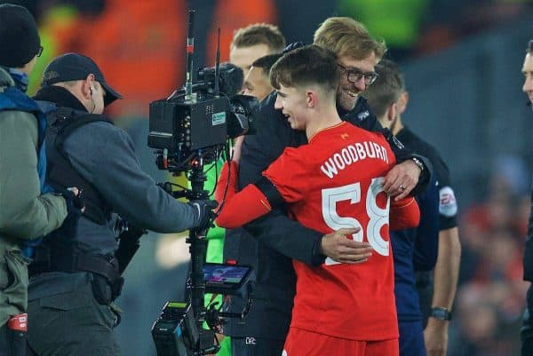 Liverpool's goal-scorer Ben Woodburn is hugged by manager Jürgen Klopp after the 2-0 victory over Leeds United during the Football League Cup Quarter-Final match at Anfield. (Pic by David Rawcliffe/Propaganda)