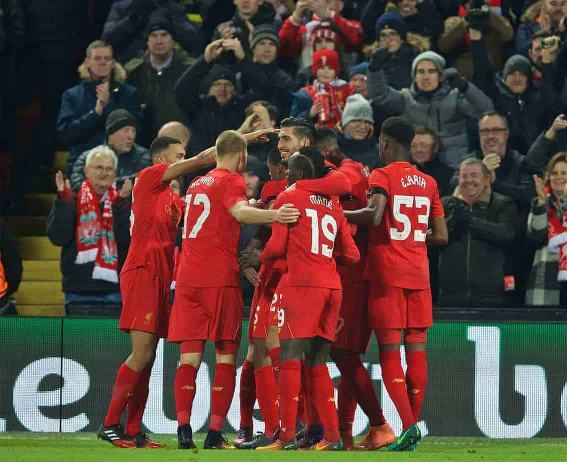 LIVERPOOL, ENGLAND - Tuesday, November 29, 2016: Liverpool players celebrate with goal-scorer Ben Woodburn after the 2-0 victory over Leeds United during the Football League Cup Quarter-Final match at Anfield. (Pic by David Rawcliffe/Propaganda)