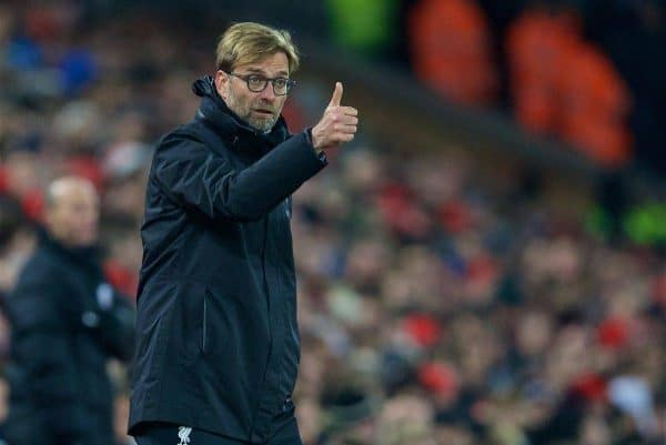 LIVERPOOL, ENGLAND - Tuesday, November 29, 2016: Liverpool's manager Jürgen Klopp gives the thumbs up during the Football League Cup Quarter-Final match against Leeds United at Anfield. (Pic by David Rawcliffe/Propaganda)