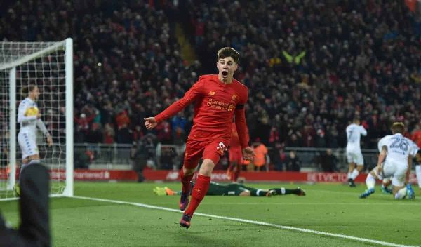 LIVERPOOL, ENGLAND - Tuesday, November 29, 2016: Liverpool's Ben Woodburn scores the second goal against Leeds United, to become the club's youngest ever goal-scorer, during the Football League Cup Quarter-Final match at Anfield. (Pic by David Rawcliffe/Propaganda)