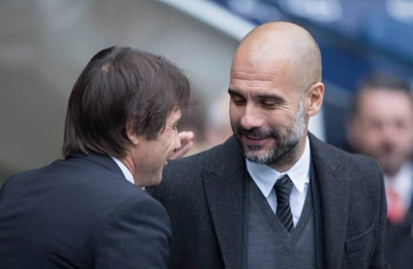 MANCHESTER, ENGLAND - Saturday, December 3, 2016: Manchester City's manager Pep Guardiola and Chelsea's Manager Antonio Conte before the FA Premier League match at the City of Manchester Stadium. (Pic by Gavin Trafford/Propaganda)