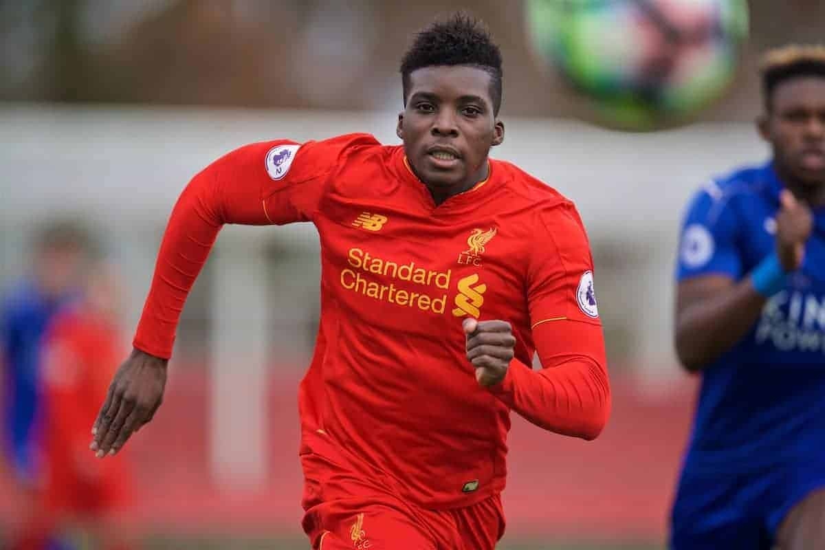 BURTON-UPON-TRENT, ENGLAND - Saturday, December 3, 2016: Liverpool's Sheyo Ojo in action against Leicester City during the Premier League International Cup match at St. George's Park. (Pic by David Rawcliffe/Propaganda)
