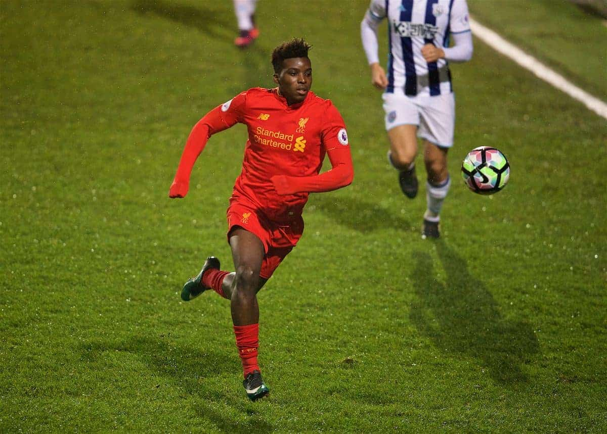BIRKENHEAD, ENGLAND - Tuesday, December 6, 2016: Liverpool's Sheyi Ojo the FA Premier League Cup match at Prenton Park. (Pic by David Rawcliffe/Propaganda)
