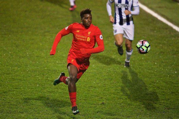 BIRKENHEAD, ENGLAND - Tuesday, December 6, 2016: Liverpool's Sheyi Ojo the FA Premier League Cup match at Prenton Park. (Pic by David Rawcliffe/Propaganda)
