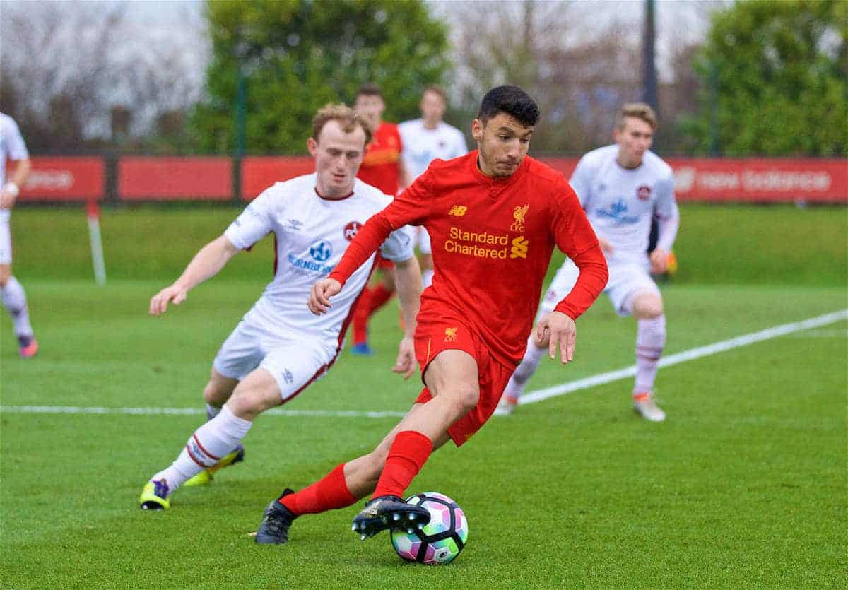 KIRKBY, ENGLAND - Wednesday, December 7, 2016: Liverpool's Paulo Alves in action against FC Nürnberg during an Under-23 friendly match at the Kirkby Academy. (Pic by David Rawcliffe/Propaganda)