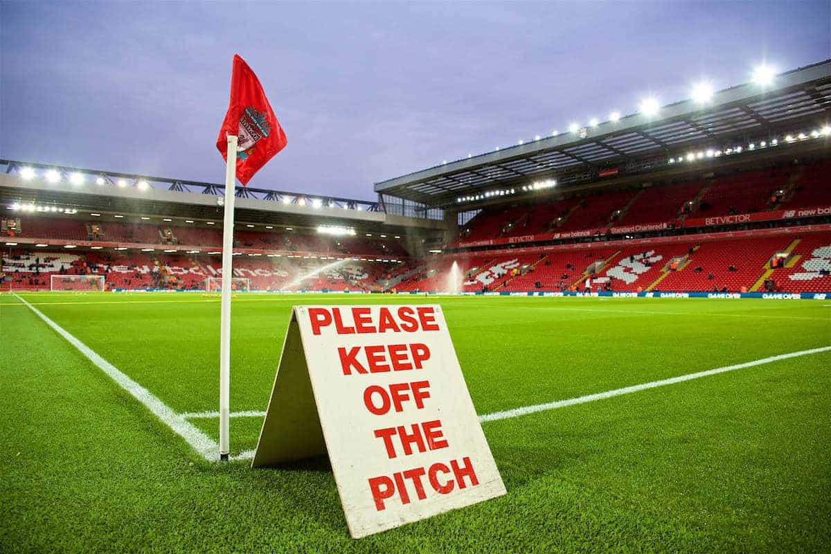 LIVERPOOL, ENGLAND - Sunday, December 11, 2016: A 'Keep of the Pitch' sign at Anfield. General Image (Pic by David Rawcliffe/Propaganda)