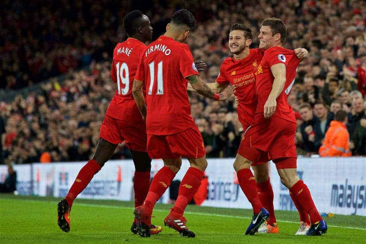 LIVERPOOL, ENGLAND - Sunday, December 11, 2016: Liverpool's Adam Lallana celebrates scoring the first goal against West Ham United during the FA Premier League match at Anfield. (Pic by David Rawcliffe/Propaganda)