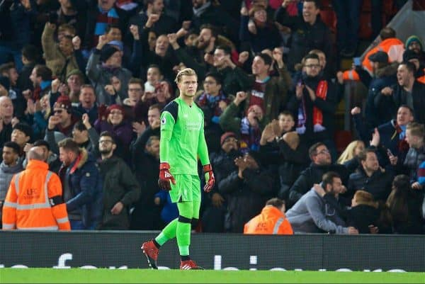 LIVERPOOL, ENGLAND - Sunday, December 11, 2016: Liverpool's goalkeeper Loris Karius looks dejected as West Ham United score the second goal during the FA Premier League match at Anfield. (Pic by David Rawcliffe/Propaganda)