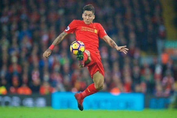 LIVERPOOL, ENGLAND - Sunday, December 11, 2016: Liverpool's Roberto Firmino in action against West Ham United during the FA Premier League match at Anfield. (Pic by David Rawcliffe/Propaganda)