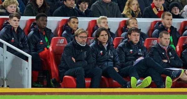 LIVERPOOL, ENGLAND - Sunday, December 11, 2016: Liverpool's manager Jürgen Klopp looks dejected on the bench with assistant manager Zeljko Buvac and head of sports medicine and first team coach Peter Krawietz during the FA Premier League match against West Ham United at Anfield. (Pic by David Rawcliffe/Propaganda)