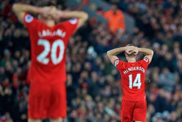 LIVERPOOL, ENGLAND - Sunday, December 11, 2016: Liverpool's captain Jordan Henderson looks dejected after missing a chance against West Ham United during the FA Premier League match at Anfield. (Pic by David Rawcliffe/Propaganda)