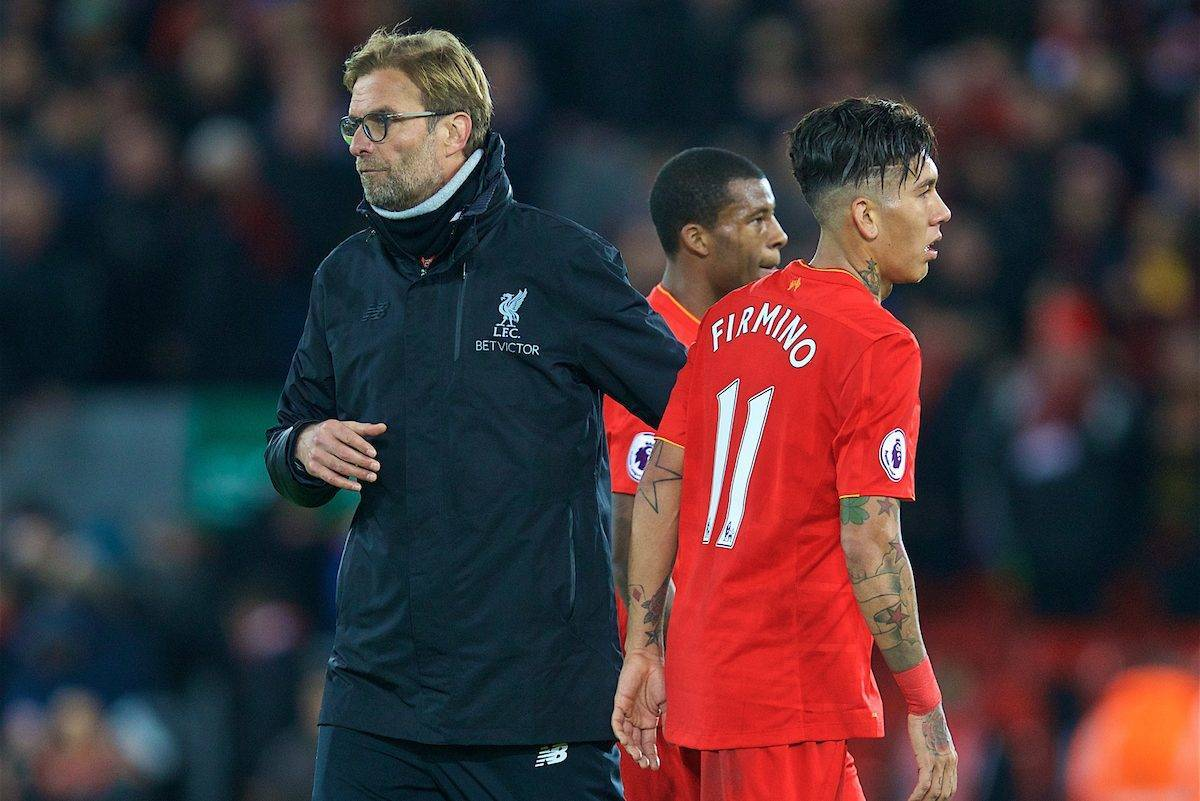 LIVERPOOL, ENGLAND - Sunday, December 11, 2016: Liverpool's manager Jürgen Klopp and Roberto Firmino after the 2-2 home draw with West Ham United during the FA Premier League match at Anfield. (Pic by David Rawcliffe/Propaganda)