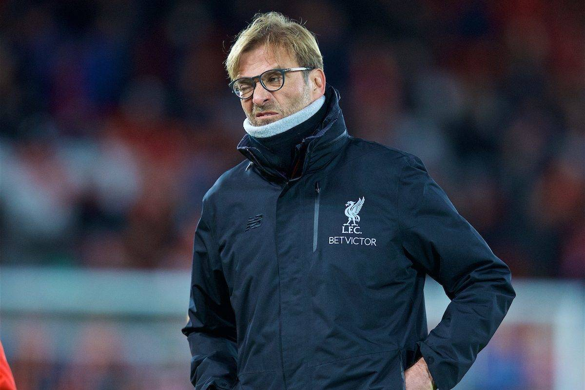 LIVERPOOL, ENGLAND - Sunday, December 11, 2016: Liverpool's manager Jürgen Klopp before the 2-2 draw with West Ham United in the FA Premier League match at Anfield. (Pic by David Rawcliffe/Propaganda)