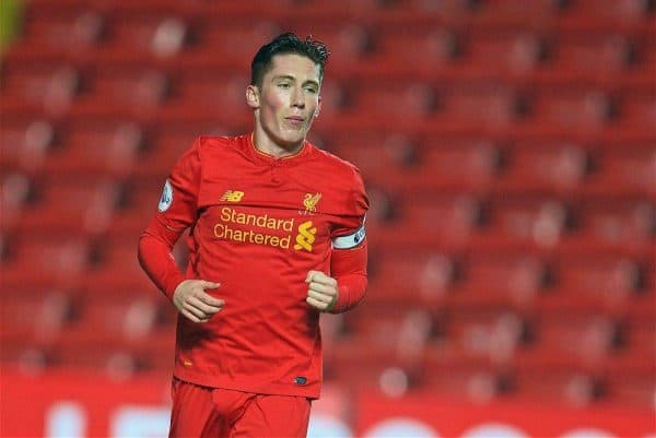 LIVERPOOL, ENGLAND - Monday, December 12, 2016: Liverpool's captain Harry Wilson celebrates scoring the second goal against Arsenal from the penalty spot during FA Premier League 2 Division 1 Under-23 match at Anfield. (Pic by David Rawcliffe/Propaganda)