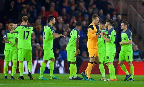 MIDDLESBROUGH, ENGLAND - Wednesday, December 14, 2016: Liverpool's goalkeeper Simon Mignolet fist bumps Adam Lallana before the FA Premier League match against Middlesbrough at the Riverside Stadium. (Pic by David Rawcliffe/Propaganda)