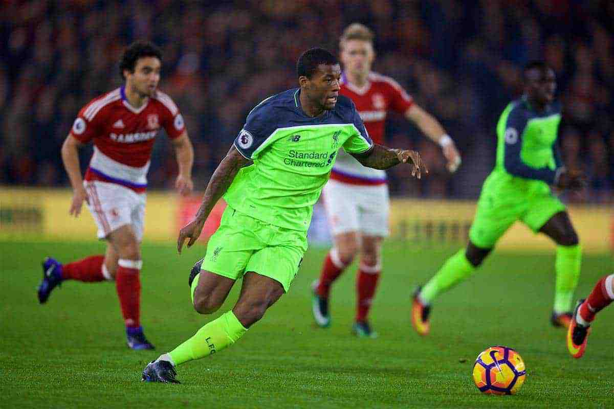 MIDDLESBROUGH, ENGLAND - Wednesday, December 14, 2016: Liverpool's Georginio Wijnaldum in action against Middlesbrough during the FA Premier League match at the Riverside Stadium. (Pic by David Rawcliffe/Propaganda)