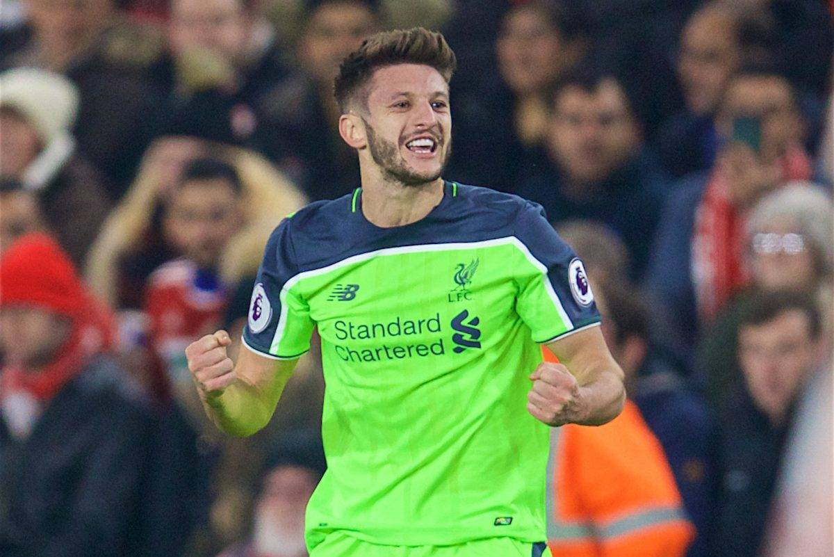 MIDDLESBROUGH, ENGLAND - Wednesday, December 14, 2016: Liverpool's Adam Lallana celebrates scoring the first goal against Middlesbrough during the FA Premier League match at the Riverside Stadium. (Pic by David Rawcliffe/Propaganda)