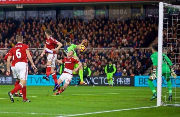 MIDDLESBROUGH, ENGLAND - Wednesday, December 14, 2016: Liverpool's Adam Lallana scores the first goal against Middlesbrough during the FA Premier League match at the Riverside Stadium. (Pic by David Rawcliffe/Propaganda)