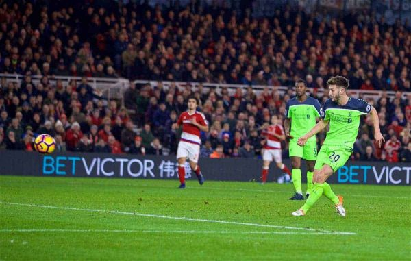 MIDDLESBROUGH, ENGLAND - Wednesday, December 14, 2016: Liverpool's Adam Lallana scores the third goal against Middlesbrough during the FA Premier League match at the Riverside Stadium. (Pic by David Rawcliffe/Propaganda)