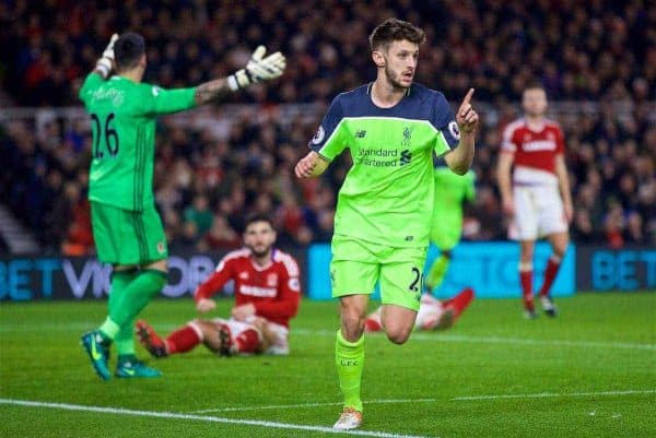 MIDDLESBROUGH, ENGLAND - Wednesday, December 14, 2016: Liverpool's Adam Lallana celebrates scoring the third goal against Middlesbrough during the FA Premier League match at the Riverside Stadium. (Pic by David Rawcliffe/Propaganda)