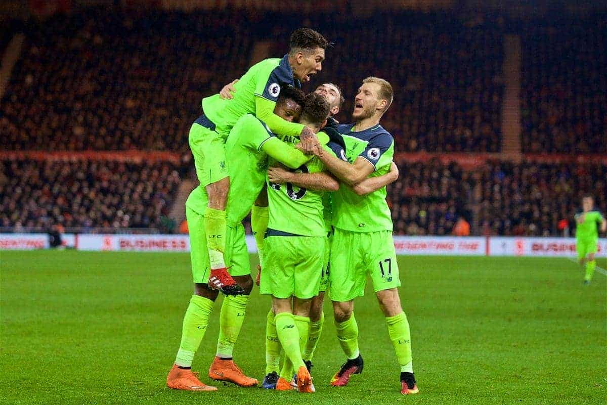 MIDDLESBROUGH, ENGLAND - Wednesday, December 14, 2016: Liverpool's Adam Lallana celebrates scoring the third goal against Middlesbrough with team-mates during the FA Premier League match at the Riverside Stadium. (Pic by David Rawcliffe/Propaganda)