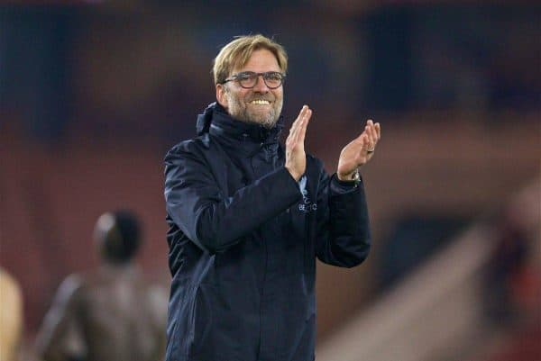 MIDDLESBROUGH, ENGLAND - Wednesday, December 14, 2016: Liverpool's manager Jürgen Klopp celebrates the 3-1 victory over Middlesbrough during the FA Premier League match at the Riverside Stadium. (Pic by David Rawcliffe/Propaganda)