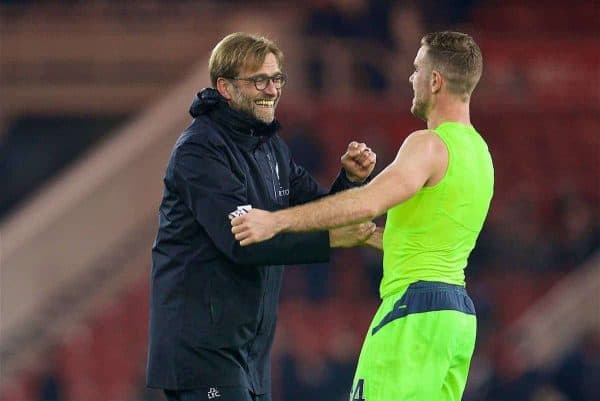 MIDDLESBROUGH, ENGLAND - Wednesday, December 14, 2016: Liverpool's manager Jürgen Klopp celebrates the 3-1 victory over Middlesbrough with captain Jordan Henderson during the FA Premier League match at the Riverside Stadium. (Pic by David Rawcliffe/Propaganda)