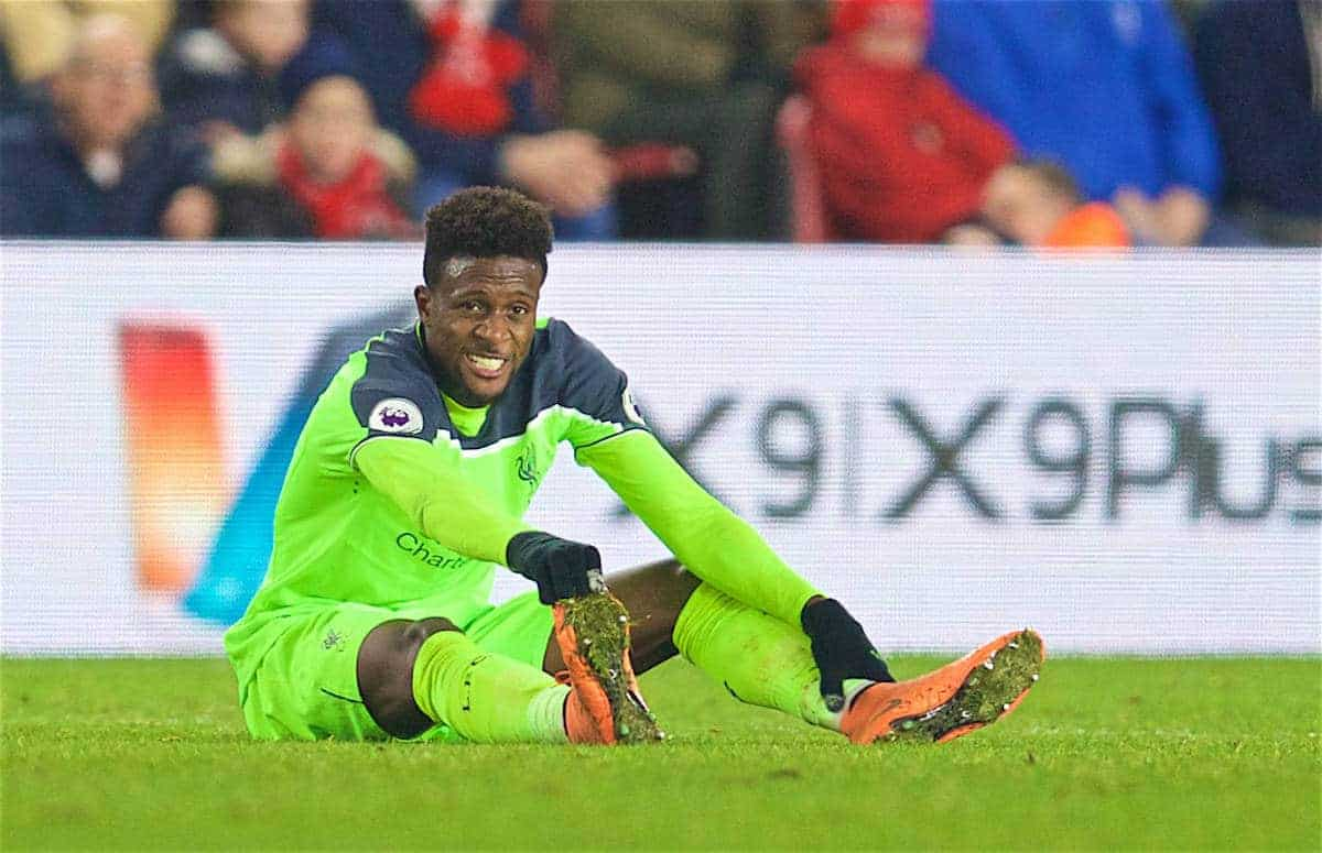 MIDDLESBROUGH, ENGLAND - Wednesday, December 14, 2016: Liverpool's Divock Origi goes down injured against Middlesbrough during the FA Premier League match at the Riverside Stadium. (Pic by David Rawcliffe/Propaganda)