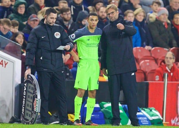 MIDDLESBROUGH, ENGLAND - Wednesday, December 14, 2016: Liverpool's manager Jürgen Klopp prepares to bring on substitute Trent Alexander-Arnold during the FA Premier League match against Middlesbrough at the Riverside Stadium. (Pic by David Rawcliffe/Propaganda)