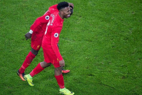 LIVERPOOL, ENGLAND - Monday, December 19, 2016: A Liverpool's Sadio Mane celebrates scoring a late winning goal with Daniel Sturridge against Everton during the FA Premier League match, the 227th Merseyside Derby, at Goodison Park. (Pic by Gavin Trafford/Propaganda)