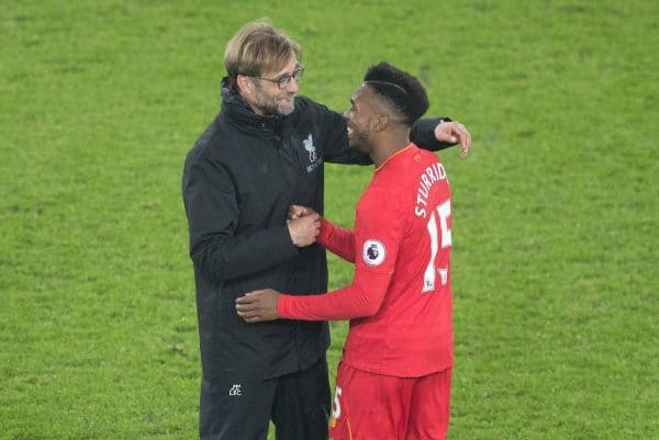 LIVERPOOL, ENGLAND - Monday, December 19, 2016: A Liverpool's Daniel Sturridge celebrates with his Manager Jürgen Klopp after game against Everton in the FA Premier League match, the 227th Merseyside Derby, at Goodison Park. (Pic by Gavin Trafford/Propaganda)