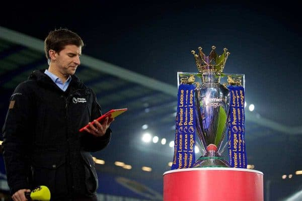 The Premier League trophy on display before the FA Premier League match between Everton and Liverpool the 227th Merseyside Derby at Goodison Park