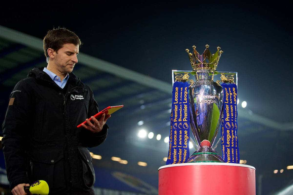 LIVERPOOL, ENGLAND - Monday, December 19, 2016: The Premier League trophy on display before the FA Premier League match between Everton and Liverpool, the 227th Merseyside Derby, at Goodison Park. (Pic by David Rawcliffe/Propaganda)