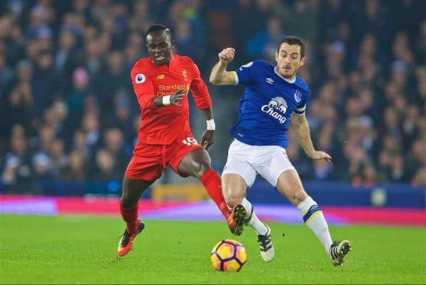 LIVERPOOL, ENGLAND - Monday, December 19, 2016: Liverpool's Sadio Mane in action against Everton's Leighton Baines during the FA Premier League match, the 227th Merseyside Derby, at Goodison Park. (Pic by David Rawcliffe/Propaganda)