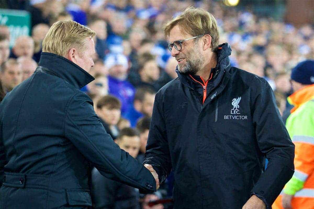 LIVERPOOL, ENGLAND - Monday, December 19, 2016: Liverpool's manager Jürgen Klopp and Everton's manager Ronald Koeman before the FA Premier League match, the 227th Merseyside Derby, at Goodison Park. (Pic by David Rawcliffe/Propaganda)