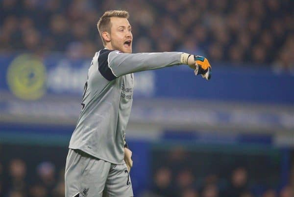 LIVERPOOL, ENGLAND - Monday, December 19, 2016: Liverpool's goalkeeper Simon Mignolet in action against Everton during the FA Premier League match, the 227th Merseyside Derby, at Goodison Park. (Pic by David Rawcliffe/Propaganda)