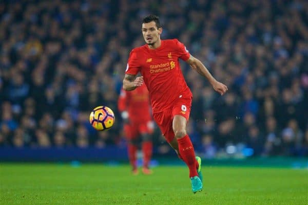 LIVERPOOL, ENGLAND - Monday, December 19, 2016: Liverpool's Dejan Lovren in action against Everton during the FA Premier League match, the 227th Merseyside Derby, at Goodison Park. (Pic by David Rawcliffe/Propaganda)