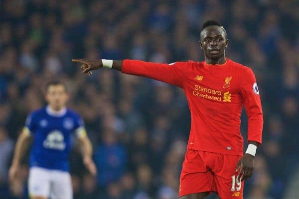 LIVERPOOL, ENGLAND - Monday, December 19, 2016: Liverpool's Sadio Mane in action against Everton during the FA Premier League match, the 227th Merseyside Derby, at Goodison Park. (Pic by David Rawcliffe/Propaganda)