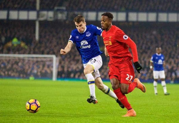LIVERPOOL, ENGLAND - Monday, December 19, 2016: Liverpool's Divock Origi in action against Everton's Seamus Coleman during the FA Premier League match, the 227th Merseyside Derby, at Goodison Park. (Pic by David Rawcliffe/Propaganda)