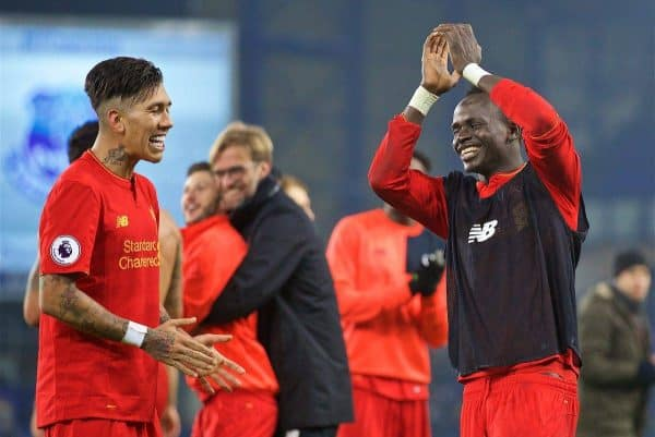 LIVERPOOL, ENGLAND - Monday, December 19, 2016: Liverpool's Roberto Firmino celebrates with goal-scoring match-winner Sadio Mane after the 1-0 victory over Everton during the FA Premier League match, the 227th Merseyside Derby, at Goodison Park. (Pic by David Rawcliffe/Propaganda)