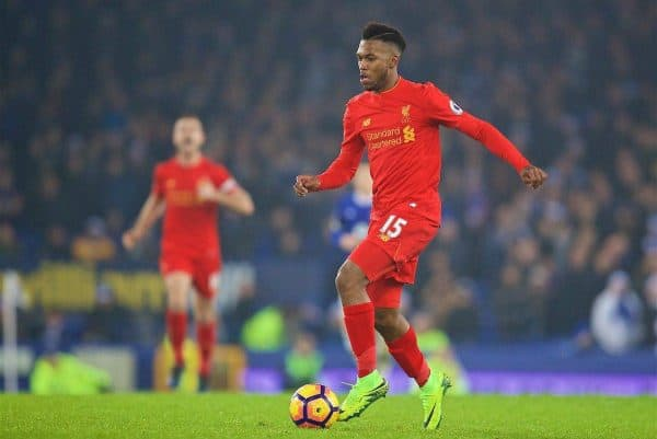 LIVERPOOL, ENGLAND - Monday, December 19, 2016: Liverpool's Daniel Sturridge in action against Everton during the FA Premier League match, the 227th Merseyside Derby, at Goodison Park. (Pic by David Rawcliffe/Propaganda)