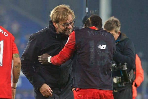 LIVERPOOL, ENGLAND - Monday, December 19, 2016: Liverpool's manager Jürgen Klopp celebrates with match-winning goal-scorer Sadio Mane after the late 1-0 victory over Everton the FA Premier League match, the 227th Merseyside Derby, at Goodison Park. (Pic by David Rawcliffe/Propaganda)