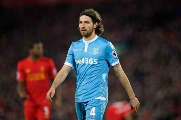 LIVERPOOL, ENGLAND - Tuesday, December 27, 2016: Stoke City's Joe Allen in action against Liverpool during the FA Premier League match at Anfield. (Pic by David Rawcliffe/Propaganda)