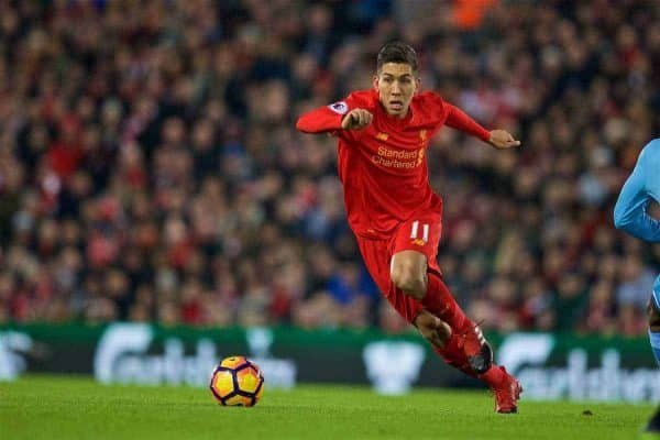 LIVERPOOL, ENGLAND - Tuesday, December 27, 2016: Liverpool's Roberto Firmino in action against Stoke City during the FA Premier League match at Anfield. (Pic by David Rawcliffe/Propaganda)