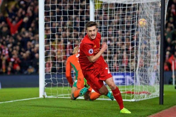 LIVERPOOL, ENGLAND - Tuesday, December 27, 2016: Liverpool's Adam Lallana celebrates scoring the first equalising goal against Stoke City during the FA Premier League match at Anfield. (Pic by David Rawcliffe/Propaganda)