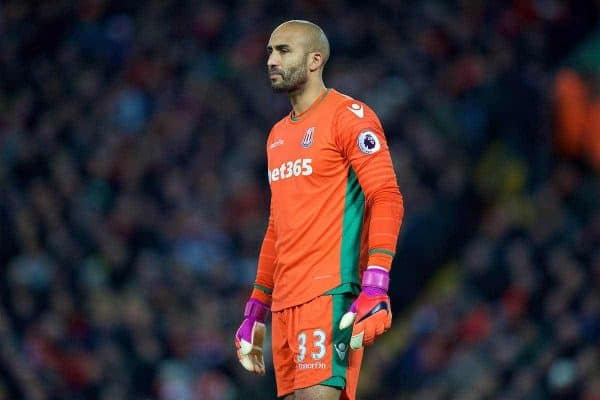 LIVERPOOL, ENGLAND - Tuesday, December 27, 2016: Stoke City's Lee Grant in action against Liverpool during the FA Premier League match at Anfield. (Pic by David Rawcliffe/Propaganda)
